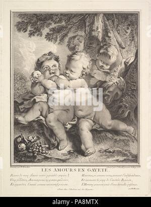 The Cheerful Cupids. Artist: After François Boucher (French, Paris 1703-1770 Paris); Jean Daullé (French, Abbeville 1703-1763 Paris). Dimensions: Plate: 13 1/2 × 10 1/4 in. (34.3 × 26.1 cm)  Sheet: 18 1/8 × 12 3/8 in. (46.1 × 31.5 cm). Date: 1750. Museum: Metropolitan Museum of Art, New York, USA. - Stock Photo