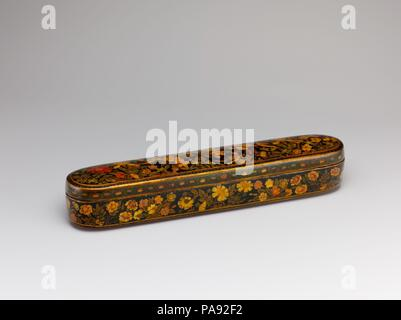 Pen Box with a Europeanizing Landscape. Artist: Hajji Muhammad. Dimensions: LengtH. 11 in. (27.9 cm)  WidtH. 2 1/4in. (5.7cm). Date: late 17th-early 18th century.  This pen box is signed by the later Safavid artist Haji Muhammad. The Europeanized landscape depicted on the inside cover of this box is associated with the style of this artist and other members of his family, most famously his celebrated brother Muhammad Zaman. The high status accorded to the arts of calligraphy and writing in the Islamic world led to the production of many handsome accessories such as this pen box. Museum: Metrop - Stock Photo