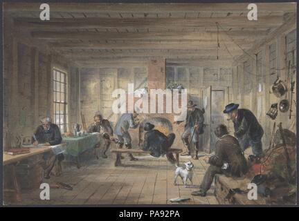 Telegraph House, Trinity Bay, Newfoundland: Interior View of the Mess Room, 1858. Artist: Robert Charles Dudley (British, 1826-1909). Dimensions: Sheet: 6 1/2 × 9 7/16 in. (16.5 × 24 cm). Date: 1865-66.  One of the 19th century's great technological achievements was to lay a telegraphic cable beneath the Atlantic, allowing messages to speed back and forth between North America and Europe in minutes, rather than ten or twelve days by steamer. An initially successful attempt in 1858, led by Cyrus W. Field and financed by the Atlantic Telegraph Company, failed after three weeks. Two working cable - Stock Photo
