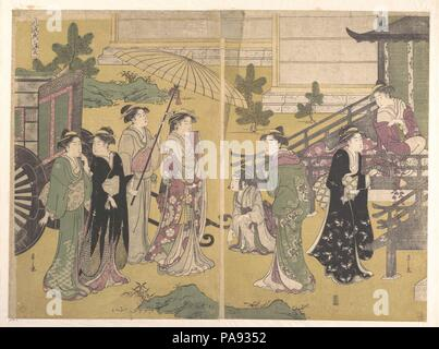 Fuji no Uraha. Artist: Chobunsai Eishi (Japanese, 1756-1829). Culture: Japan. Dimensions: 15 1/8 x 20 1/2 in. (38.4 x 52.1 cm). Date: ca. 1790.  This triptych is typical of the yatsushi, or the amusing disguise of one figure or scene as another. A gorgeous operatic pageant of beautiful ladies is presented here as one of the happiest scenes from The Tale of Genji. This is the last chapter of the first half of the Genji, which relates a series of climactic events culminating with the success of the Shining Prince, a success that is to lead rapidly to catastrophe in succeeding chapters. Here, Yug - Stock Photo