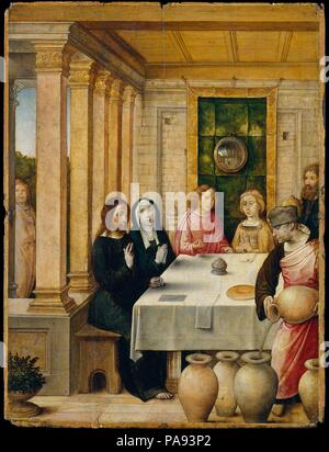 The Marriage Feast at Cana. Artist: Juan de Flandes (Netherlandish, active by 1496-died 1519 Palencia). Dimensions: 8 1/4 x 6 1/4 in. (21 x 15.9 cm). Date: ca. 1500-1504.  This was one of forty-seven panels representing the lives of Christ and the Virgin that were made for Isabella of Castile. The picture's subject is the marriage feast at Cana, when Christ performed his first miracle turning water into wine. The convex mirror, seen behind the married couple, is a common motif in Netherlandish painting. The preparatory underdrawing reveals a number of anecdotal details that were never painted. - Stock Photo