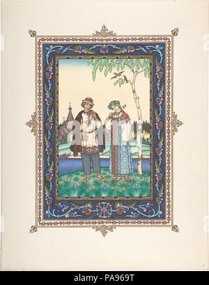 Illustration for 'Snegurochka' [Lel and Snegurochka]. Artist: Boris Zvorykin (Russian, Moscow 1872-1942 Paris). Dimensions: Image: 10 13/16 x 8 1/16 in.  (27.5 x 20.5 cm)  Sheet: 13 9/16 x 10 1/2 in.  (34.5 x 26.7 cm). Date: ca. 1925. Museum: Metropolitan Museum of Art, New York, USA. - Stock Photo