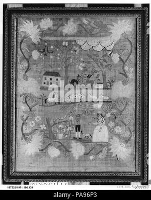 Embroidered Sampler. Culture: American. Dimensions: 20 1/2 x 18 in. (52.1 x 45.7 cm). Maker: Mary Waine (born 1783). Date: ca. 1795.  The sentiment expressed in the motto on this freely designed sampler illustrates the attitude, pervasive in the eighteenth century, that female education was necessary only to provide something for a woman to fall back on in the unlikely event that all other options for support failed. Most of the middle- and upper-class girls who made samplers would never have to work outside the home to support themselves, so the poor (by today's standards) academic training t - Stock Photo