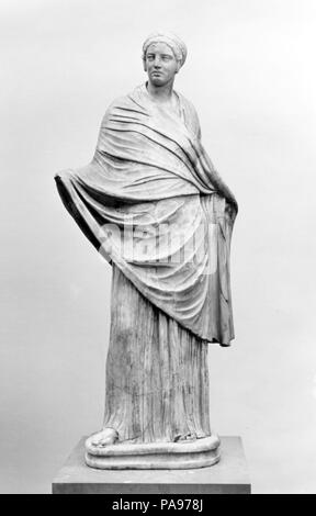 Marble statue of a girl. Culture: Roman. Dimensions: H. with plinth 175.3 cm.. Date: 1st or 2nd century A.D..  Copy or adaptation of a Greek work of the 3rd or 2nd century B.C.  During the Hellenistic period, sculptors delighted in the rendition of complex layers of drapery. This figure was once part of the collection formed by the Marchese Vincenzo Giustiniani in Rome. Museum: Metropolitan Museum of Art, New York, USA. - Stock Photo