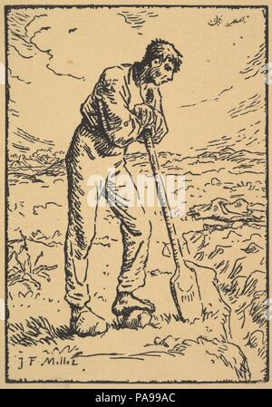 Man Resting on a Spade. Artist: Engraved by Pierre Millet (French). Dimensions: block: 7 3/8 x 5 3/16 in. (18.8 x 13.2 cm). Draftsman: Drawn by Jean-François Millet (French, Gruchy 1814-1875 Barbizon). Date: 1874. Museum: Metropolitan Museum of Art, New York, USA. - Stock Photo