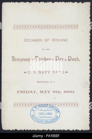 """578 DINNER) FOR THE OPENING OF SIMPSON TIMBER DRY DOCK (held by) (SIMPSON TIMBER) (at) """"(U.S.NAVY YARD), BROOKLYN, NEW YORK"""" (NYPL Hades-269861-474511) - Stock Photo"""
