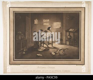 Helluones librorum (Bookworms). Artist: Aquatint by Francis Jukes (British, Hertfordshire 1747-1812 London); Joshua Kirby Baldrey (British, 1754-1828); After Robert Chilton (British, 18th century). Dimensions: plate: 12 15/16 x 15 1/2 in. (32.8 x 39.4 cm)  sheet: 13 5/8 x 16 1/2 in. (34.6 x 41.9 cm). Sitter: Samuel Vince (British, 1749-1821). Date: November 10, 1786. Museum: Metropolitan Museum of Art, New York, USA. - Stock Photo