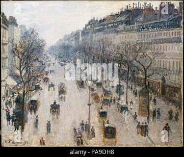 The Boulevard Montmartre on a Winter Morning. Artist: Camille Pissarro (French, Charlotte Amalie, Saint Thomas 1830-1903 Paris). Dimensions: 25 1/2 x 32 in. (64.8 x 81.3 cm). Date: 1897.  After spending six years in rural Éragny, Pissarro returned to Paris, where he painted several series of the <i>grands boulevards</i>. Surveying the view from his lodgings at the Grand Hôtel de Russie in early 1897, Pissarro marveled that he could 'see down the whole length of the boulevards' with 'almost a bird's-eye view of carriages, omnibuses, people, between big trees, big houses that have to be set stra - Stock Photo