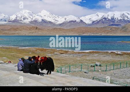 Chinese nomadic people of minority group at Karakul Lake in Xinjiang with snow capped mountain background. - Stock Photo