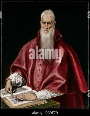 Saint Jerome as Scholar. Artist: El Greco (Domenikos Theotokopoulos) (Greek, Iráklion (Candia) 1540/41-1614 Toledo). Dimensions: 42 1/2 x 35 1/16 in. (108 x 89 cm). Date: ca. 1610.  El Greco executed at least five paintings of Saint Jerome. In this version, from the last years of the painter's life, the saint is shown in the red vestments of a cardinal, seated before an open book, an attribute indicating his role as translator of the Bible from Greek into Latin in the fifth century. His gaunt sunken features and long white beard refer to his familiar guise as a penitent, recalling his retreat  - Stock Photo