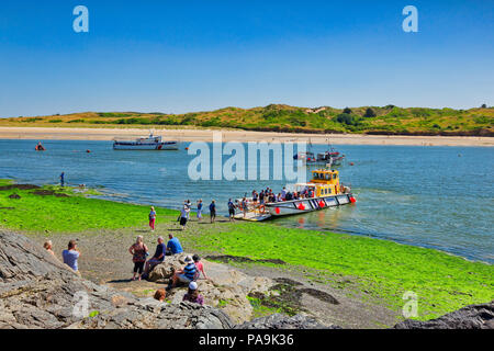 26 June 2018: Padstow, Cornwall UK - Passengers  at the Padstow to Rock Ferry, which crosses the River Camel. - Stock Photo