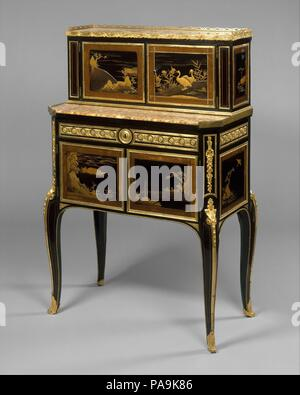 Desk (bonheur du jour). Culture: French. Dimensions: 39 x 25 1/4 x 14 1/2 in. (99.1 x 64.1 x 36.8cm). Maker: Claude-Charles Saunier (French, 1735-1807). Date: ca. 1765-75. Museum: Metropolitan Museum of Art, New York, USA. - Stock Photo