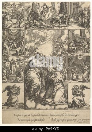 The Coronation of the Virgin; surrounded by nine vignettes with scenes from the life of Christ and the Virgin. Artist: Engraved by Giorgio Ghisi (Italian, Mantua ca. 1520-1582 Mantua). Dimensions: sheet: 12 x 8 3/4 in. (30.5 x 22.2 cm) borderline. Date: by 1575. Museum: Metropolitan Museum of Art, New York, USA. - Stock Photo