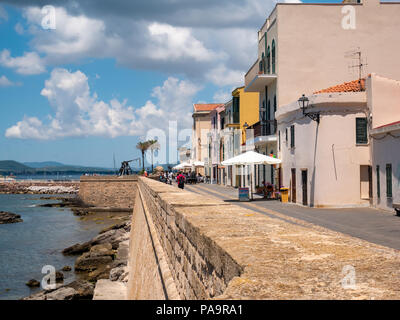 Waterfront promenade, Alghero, Sardinia, Italy - Stock Photo