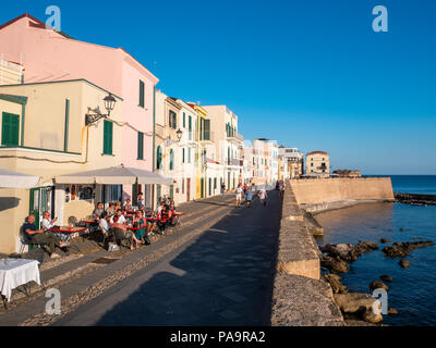 Waterfront bar on the promenade, Alghero, Sardinia, Italy - Stock Photo