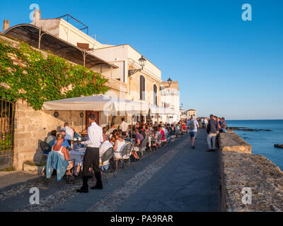 Waterfront restaurant, Alghero, Sardinia, Italy - Stock Photo
