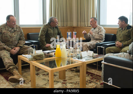(left to right) U.S. European Forces Command Commander, Gen. Philip M. Breedlove, Israeli Chief of General Staff, Lt. Gben. Gads Eisenkot, U.S. Chairman of the Joint Chiefs of Staff, Marine Gen. Joseph F. Dunford Jr., and Israeli Maj Gen  Yaakov Ayish meet at the Ministry of Defense inTel Aviv, Israel, March 3, 2016. (DoD photo by D. Myles Cullen/Released) - Stock Photo