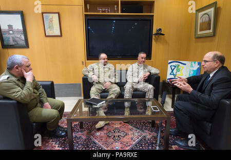 (Right to left) Israeli Minister of Defense Moshe Yaalon, U.S. Chairman of the Joint Chiefs of Staff Marine Gen. Joseph F. Dunford Jr., U.S. European Forces Command commander Gen. Philip M. Breedlove and Israeli Chief of General Staff Lt. Gen. Gads Eisenkot at the Ministry of Defense in Tel Aviv, Israel, March 3, 2016. (DoD photo by D. Myles Cullen/Released) - Stock Photo
