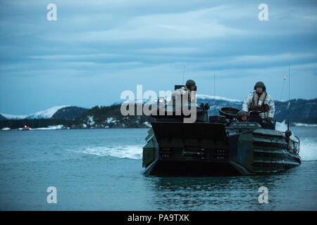 An amphibious assault vehicle prepares to make a beach landing during Exercise Cold Response 16 March 3, 2016, in Namsos, Norway.  The exercise is a Norwegian invitational comprised of 13 NATO partners and allies working together to strengthen partnerships and crisis response capabilities. (U.S. photo released by Sgt. Kirstin Merrimarahajara/Released) - Stock Photo