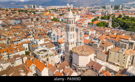 Cathedral of Saint Domnius and bell tower, Old Split, the Historic Center of Split, Croatia - Stock Photo