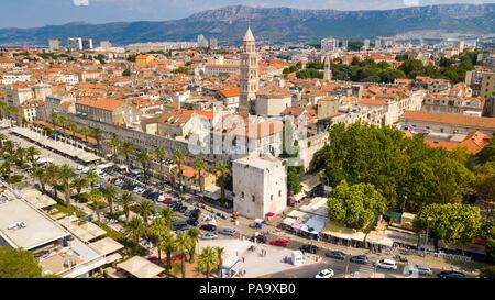 Aerial of Old Split, the Historic Center of Split, Croatia - Stock Photo