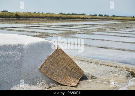 Salina di Cervia, salt mining, salt pan, sweet salt - Stock Photo