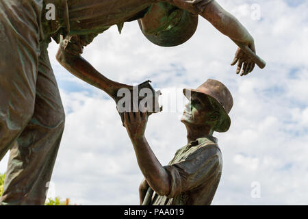 Close up of a section of the Diggers Statue at the Eastern Gateway of the Great Ocean Road, Victoria, Australia - Stock Photo