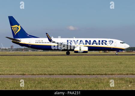 Irish Ryanair Boeing 737-800 with registration EI-GSB just landed on runway 18R (Polderbaan) of Amsterdam Airport Schiphol. - Stock Photo