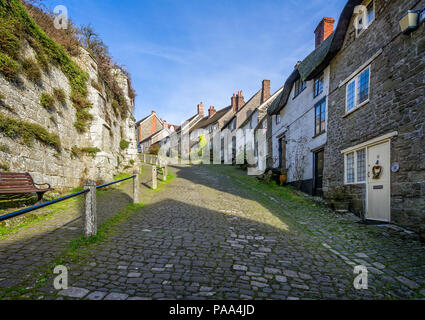 Famous Gold Hill in Shaftesbury, Dorset, UK taken on 3 January 2017 - Stock Photo