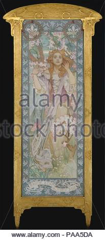 Maude Adams (1872-1953) as Joan of Arc. Artist: Alphonse Mucha (Czech, Ivancice 1860-1939 Prague). Dimensions: 82 1/4 x 30 in. (208.9 x 76.2 cm). Date: 1909.    Born in what is now the Czech Republic, Mucha rose to fame as a theater poster designer and commercial illustrator in Paris. From 1904 on, he made several working trips to the United States. Mucha painted this portrait of Maude Adams as Joan of Arc to promote a one-night gala performance of Friedrich Schiller's <i>The Maid of Orleans</i> at Harvard University Stadium on June 22, 1909; he also designed the production's costumes and sets - Stock Photo