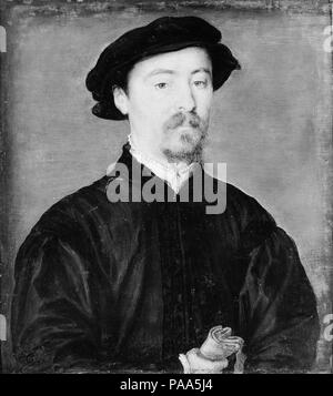 Portrait of a Man with Gloves. Artist: Attributed to Corneille de Lyon (Netherlandish, The Hague, active by 1533-died 1575 Lyons). Dimensions: 6 7/8 x 6 1/2 in. (17.5 x 16.5 cm). Date: 1540-45.  The striking formality of the pose of this sitter holding gloves, and his direct address of the viewer, may indicate his prominent position in society. Museum: Metropolitan Museum of Art, New York, USA. - Stock Photo