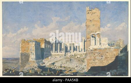 The Acropolis from the West, with the Propylaea and the Temple of Athena Nike, Athens. Artist: Thomas Hartley Cromek (British, London 1809-1873 Wakefield). Dimensions: 13-1/8 x 22-3/16 in.  (33.3 x 56.3 cm). Date: 1834. Museum: Metropolitan Museum of Art, New York, USA. - Stock Photo