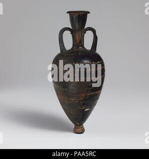 Terracotta amphoriskos (oil flask). Culture: Greek, Attic. Dimensions: H. 7 3/8 in. (18.8 cm). Date: 4th century B.C..  With stamped patterns. Museum: Metropolitan Museum of Art, New York, USA. - Stock Photo