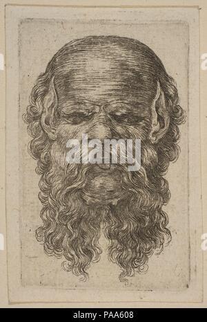 Mask. Artist: Attributed to Stefano della Bella (Italian, Florence 1610-1664 Florence). Museum: Metropolitan Museum of Art, New York, USA. - Stock Photo