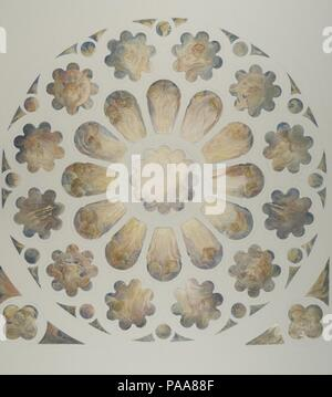Design for a window. Artist: Louis Comfort Tiffany (American, New York 1848-1933 New York). Culture: American. Dimensions: Overall: 27 15/16 x 21 15/16 in. (71 x 55.7 cm). Maker: Possibly Tiffany Glass and Decorating Company (American, 1892-1902); Possibly Tiffany Studios (1902-32); Possibly Tiffany Glass Company (1885-92). Date: late 19th-early 20th century.  This elaborate design for a rose window illustrates the mastery and sophistication of the Tiffany Studios designers. The west rose window at the cathedral in Chartres, France, may be the source for the imagery and tracery. In stark contr - Stock Photo