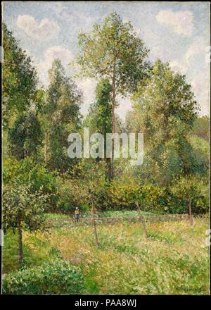 Poplars, Éragny. Artist: Camille Pissarro (French, Charlotte Amalie, Saint Thomas 1830-1903 Paris). Dimensions: 36 1/2 x 25 1/2 in. (92.7 x 64.8 cm). Date: 1895.  This canvas of summer 1895 shows a corner of Pissarro's garden at Éragny, a small village in northern France where he lived from 1884 until his death. Pissarro likely painted this view from his studio window, as a persistent eye ailment hampered him from working outdoors. The picture was among the works that Pissarro sold in November to the dealer Durand-Ruel, who included it in a major exhibition of the artist's work the following s - Stock Photo