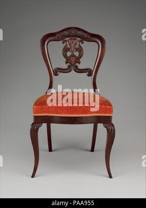 Side chair. Culture: American. Dimensions: H. 33 1/2 in. (85.1 cm). Date: ca. 1845. Museum: Metropolitan Museum of Art, New York, USA. - Stock Photo