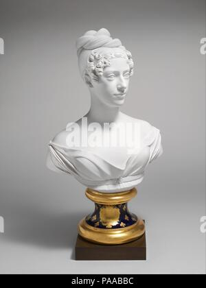 The duchesse de Berry. Artist: After an original by Henri Joseph Ruxthiel (1775-1837). Culture: French, Paris. Dimensions: Overall, on bronze plinth: 27 1/2 × 15 1/8 × 9 1/2 in. (69.9 × 38.4 × 24.1 cm). Manufactory: Denuelle factory (French). Date: ca. 1820.  This bust appears to be the most ambitious piece of porcelain produced by the Paris factory of Auguste Dominique Denuelle. It is based on a marble bust by the sculptor Henri Joseph Ruxtheil (1755-1837) and depicts Marie-Caroline, the duchess of Berry. A daughter of King Francis I of the Two Sicilies, Marie-Caroline married Charles Ferdina - Stock Photo