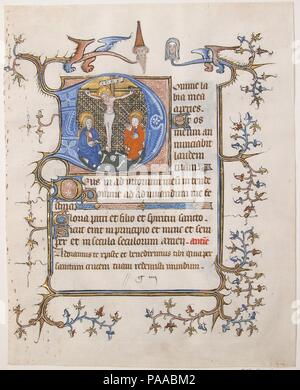 Manuscript Leaf with the Crucifixion in an Initial D, from a Book of Hours. Culture: North French. Dimensions: Overall: 8 3/16 x 6 1/2 in. (20.8 x 16.5 cm)  Study mat size: 12 x 9 15/16 in. (30.5 x 25.3 cm). Date: ca. 1350.  The Crucifixion serves as a kind of bookmark at the beginning of the Hours of the Cross, which tell of Christ's Passion. This cycle of Latin prayers is to be said privately at seven different periods during the day. The winged creatures with human heads inject a note of bizarre humor to the sobering scene of Jesus' death. Museum: Metropolitan Museum of Art, New York, USA. - Stock Photo