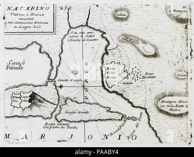 181 Navarino Vecchio, e Nuovo aquistati dal Serenissimo Morosini in Giugno 1680 - Coronelli Vincenzo - 1686 - Stock Photo