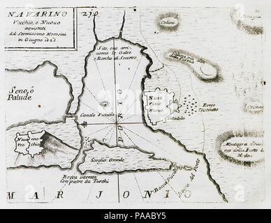 181 Navarino Vecchio, e Nuovo aquistati dal Serenissimo Morosini in Giugno 1680 - Coronelli Vincenzo Maria - 1708 - Stock Photo
