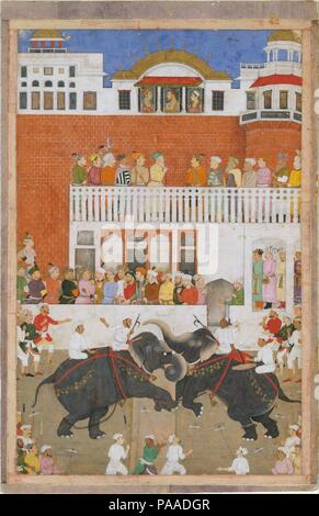'Shah Jahan Watching an Elephant Fight', Folio from a Padshahnama. Artist: Bulaqi. Dimensions: 15 in. high 9.75 in. wide (38.2 cm high 24.7 cm wide). Date: probably 1639.  In this page from the Padshahnama, the artist has created a unified space stretching from the foreground, where goaders are milling, to the top of the scene, where the emperor and his two sons are shown in profile at an open tripartite window. Although the white and red walls of the fort are unmodulated planes, the placement of figures before them gives a sense of spatial recession. The dynamism of the elephant combat balanc - Stock Photo