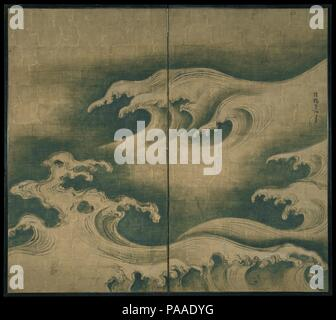 Rough Waves. Artist: Ogata Korin (Japanese, 1658-1716). Culture: Japan. Dimensions: Image: 57 11/16 x 65 1/8 in. (146.5 x 165.4 cm)  Overall: 59 1/4 x 66 1/2 in. (150.5 x 168.9 cm). Date: ca. 1704-9.  Many artists and poets of the East and West alike have striven to capture the transitory and fleeting image of swelling waves. Korin's rendition--one of Japan's most striking representations of this amorphous, ungraspable form--has a strangely menacing feel, due no doubt to the long, tentacle-like fingers of foam, punctured here and there by openings. Outlined in ink using the ancient Chinese tec - Stock Photo