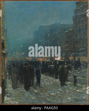 Broadway and 42nd Street. Artist: Childe Hassam (American, Dorchester, Massachusetts 1859-1935 East Hampton, New York). Dimensions: 26 x 22 in. (66 x 55.9 cm). Date: 1902.  While Hassam is better known for his New England subjects, his French and American city scenes capture the picturesque qualities of popular parks, boulevards, and commercial districts. This evocative nocturne of urbanites in Longacre Square (now known as Times Square) is quietly atmospheric. Blanketing the vibrant cross-streets with weather effects and the glow of electricity--that powered and illuminated the new trolley ca - Stock Photo