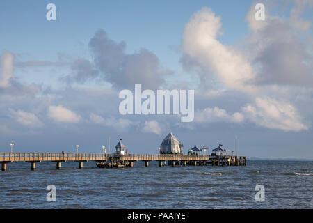 Pier with diving Gondola, Groemitz, Schleswig-Holstein, Germany, Europe - Stock Photo