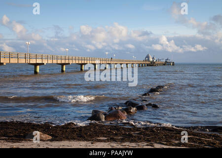 Pier with diving Gondola, Groemitz, Schleswig-Holstein, Germany, Europe - Stock Photo