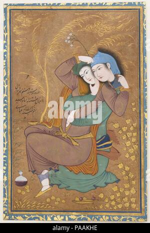 The Lovers. Artist: Painting by Riza-yi `Abbasi (Persian, ca. 1565-1635). Dimensions: Painting: H. 6 7/8 in. (17.5 cm)   W. 4 3/8 in. (11.1 cm)  Page: H. 7 1/2 in. (19.1 cm)  W. 4 15/16 in. (12.5 cm)  Mat: H. 19 1/4 in. (48.9 cm)  W. 14 1/4 in. (36.2 cm). Date: dated A.H. 1039/ A.D. 1630.  The artist Riza-yi 'Abbasi revolutionized Persian painting and drawing with his inventive use of calligraphic line and unusual palette. He painted The Lovers toward the end of a long, successful career at the Safavid court. The subject of a couple entwined reflects a newly relaxed attitude to sensuality intr - Stock Photo