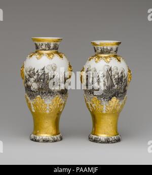 Vase (one of a pair). Culture: German, Meissen. Decorator: Ignaz Preissler (1676-1741). Dimensions: Overall (confirmed): 8 9/16 × 4 7/16 × 3 3/4 in. (21.7 × 11.3 × 9.5 cm). Factory: Meissen Manufactory (German, 1710-present). Factory director: Böttger Period (1713-1720). Date: ca. 1720-25. Museum: Metropolitan Museum of Art, New York, USA. - Stock Photo