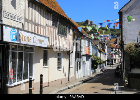 Courthouse Street in Hastings Old Town with the East Hill Lift beyond, in East Sussex, UK - Stock Photo