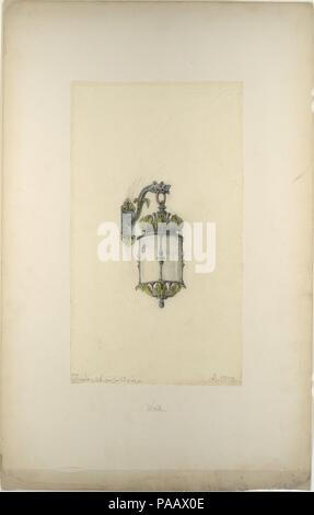 Design for hanging wall-mounted lantern. Artist: Louis Comfort Tiffany (American, New York 1848-1933 New York). Culture: American. Dimensions: Storage (mat size): 28 × 22 in. (71.1 × 55.9 cm)  13 11/16 × 7 11/16 in. (34.8 × 19.6 cm). Maker: Possibly Tiffany Glass and Decorating Company (American, 1892-1902); Possibly Tiffany Studios (1902-32); Possibly Tiffany Glass Company (1885-92). Date: late 19th-early 20th century. Museum: Metropolitan Museum of Art, New York, USA. - Stock Photo